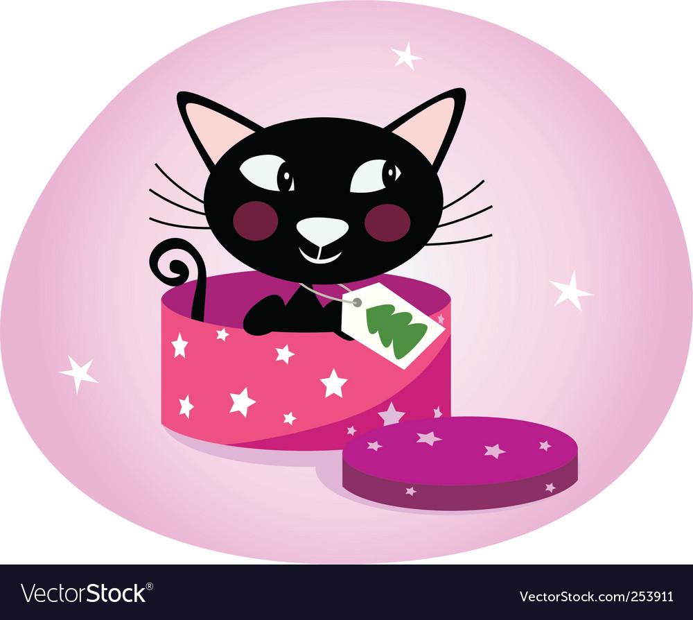 Black christmas kitten in box vector image