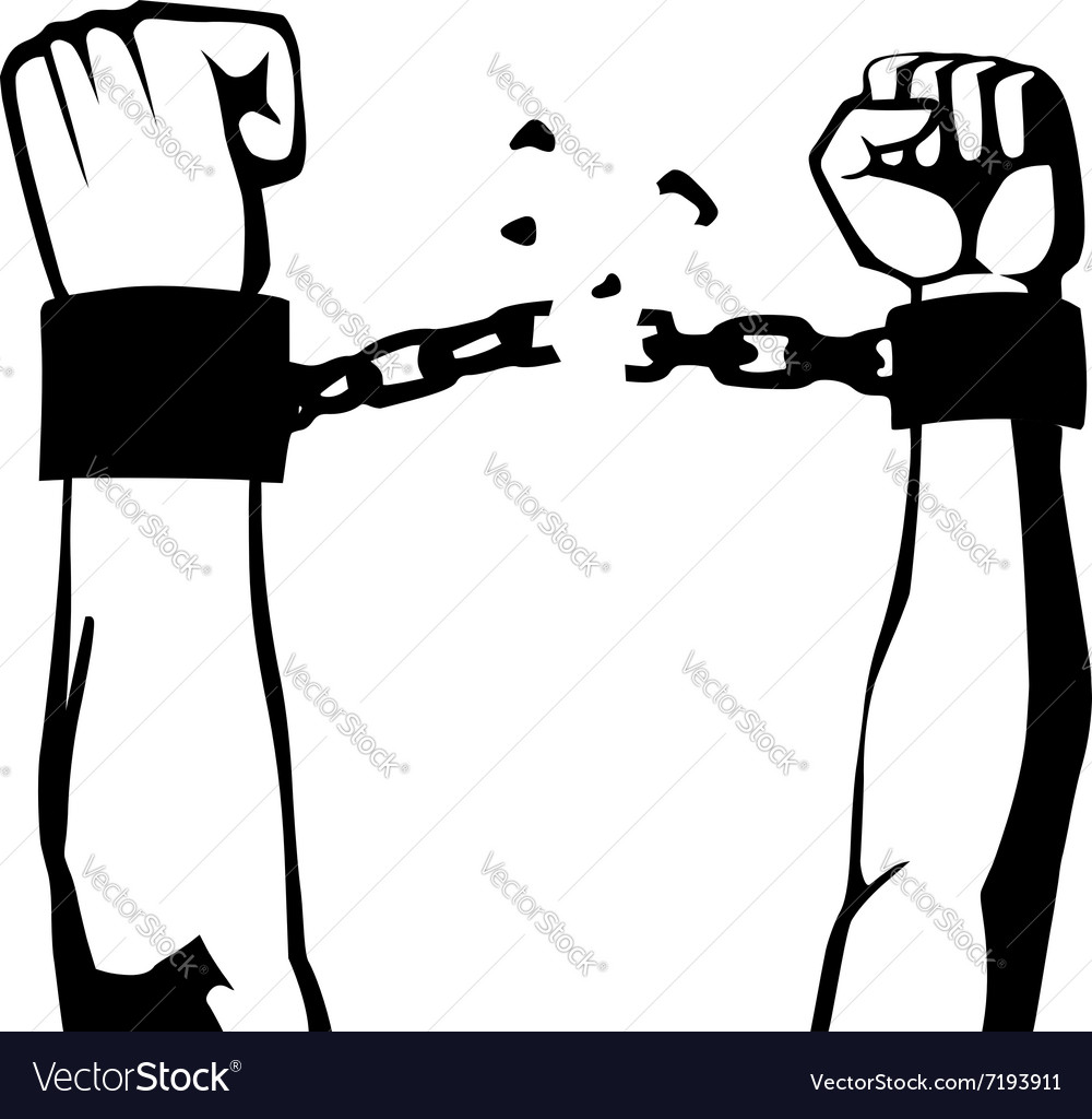Breaking the chain isolated vector image