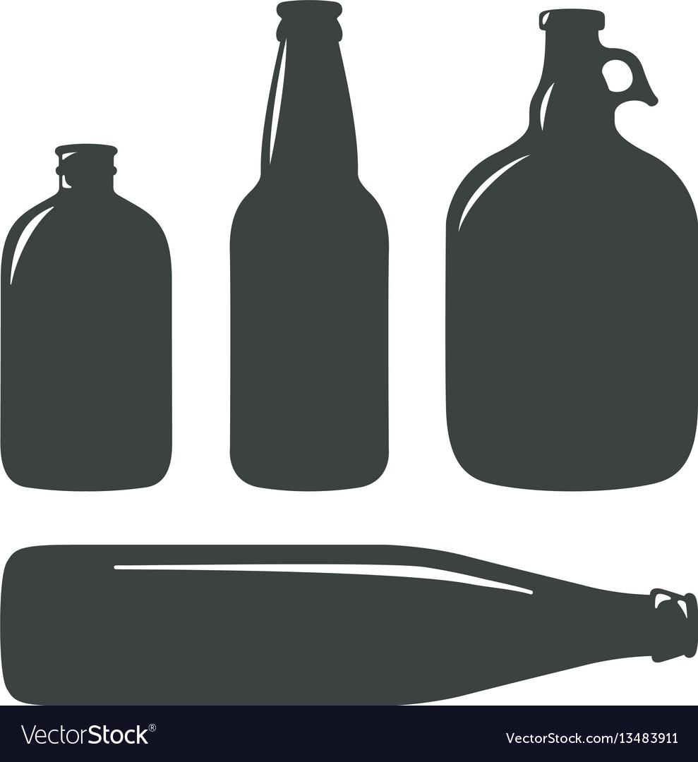 Craft beer bottles vintage brewery bottles sign vector image