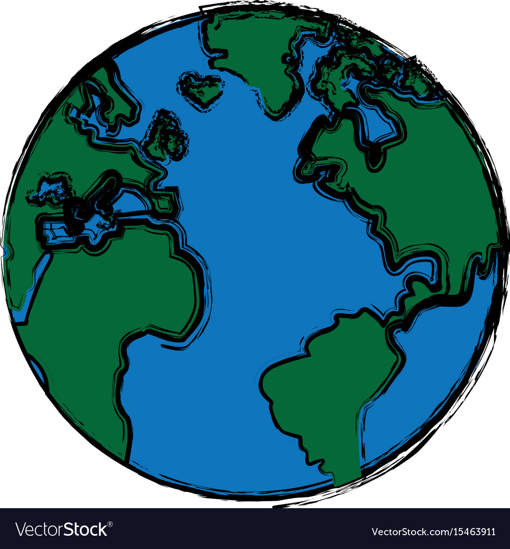 Global world earth map round Royalty Free Vector Image
