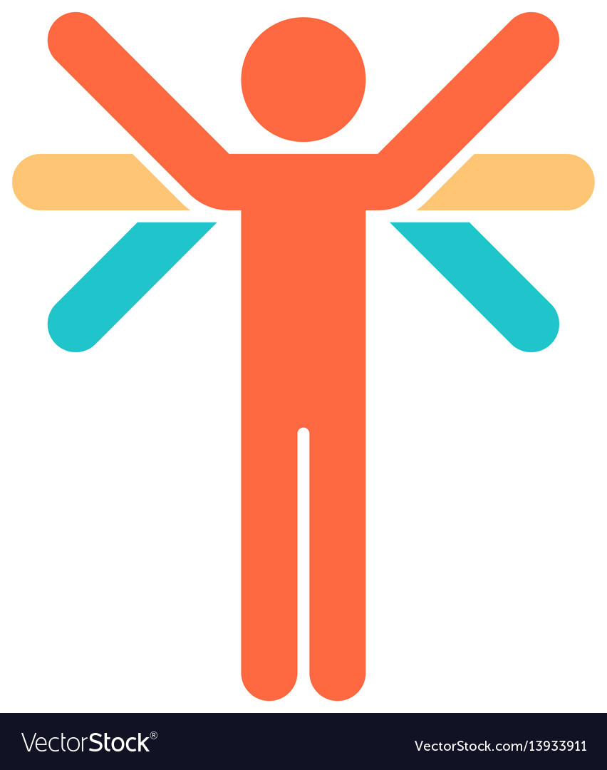Man with many hands flat icon vector image