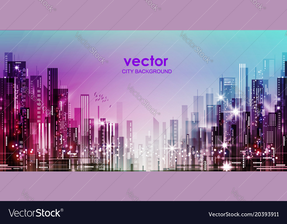 The night city with lights vector image
