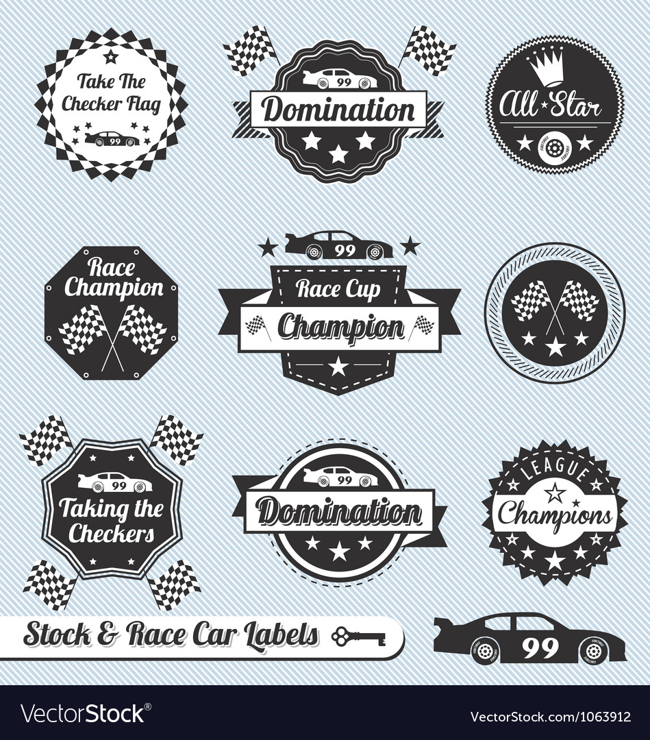 Race Car Labels and Sticker vector image