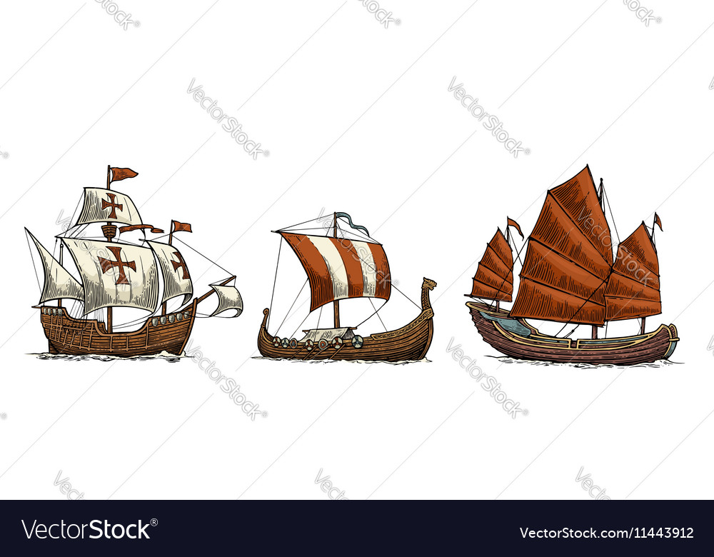 Caravel drakkar junk Set sailing ships floating vector image