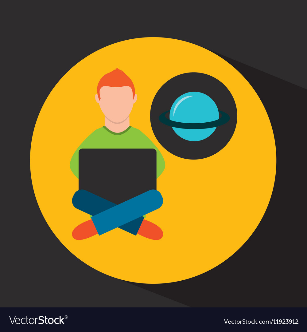 Online training education-student astronomy vector image