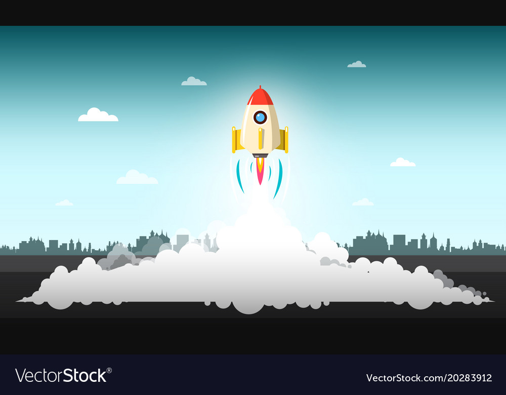 Rocket launch with abstract urban landscape on vector image
