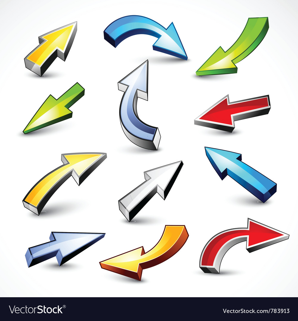Collection of colored arrows vector image