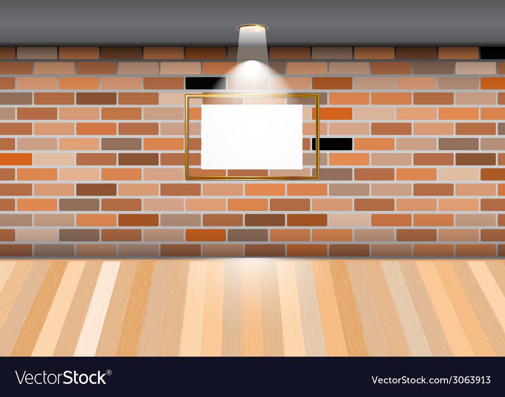 Empty room blank frame brick wall vector image
