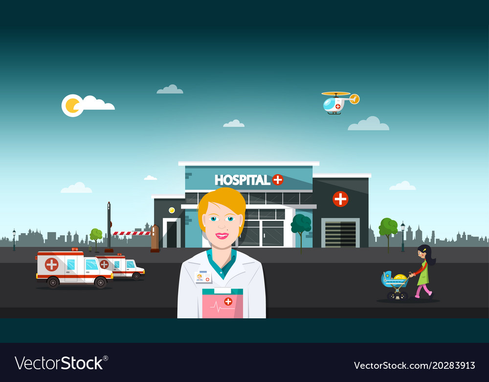 Hospital building with doctor urban landscape vector image