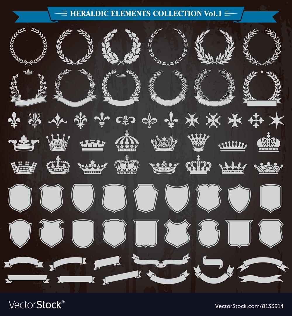 Heraldic Elements Set vector image