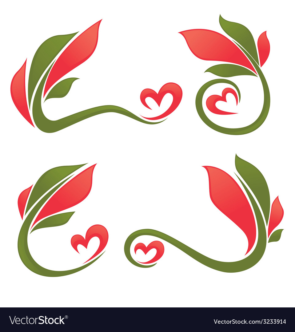 Leaves and hearts vector image