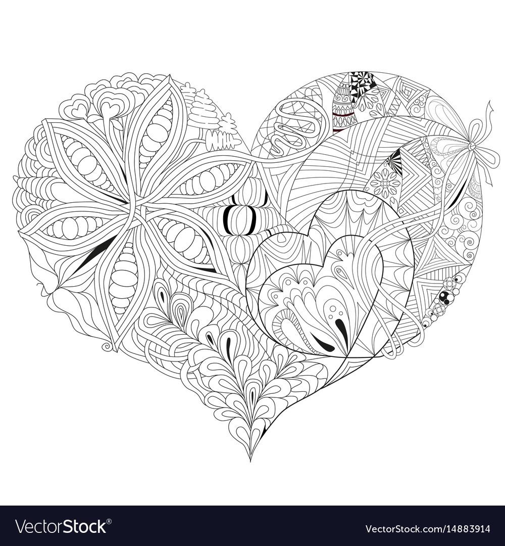 Sketchy doodle heart vector image