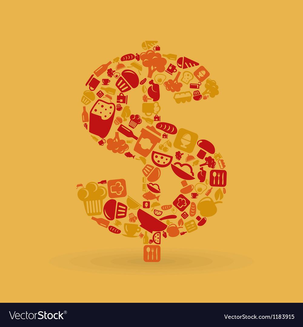 Food dollar vector image