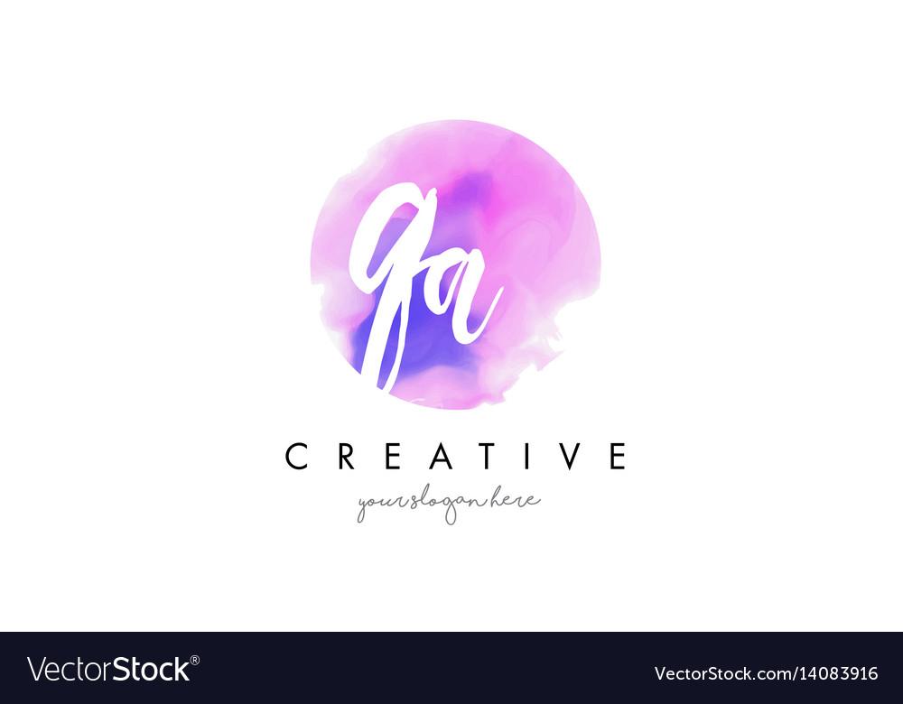 Qa watercolor letter logo design with purple vector image