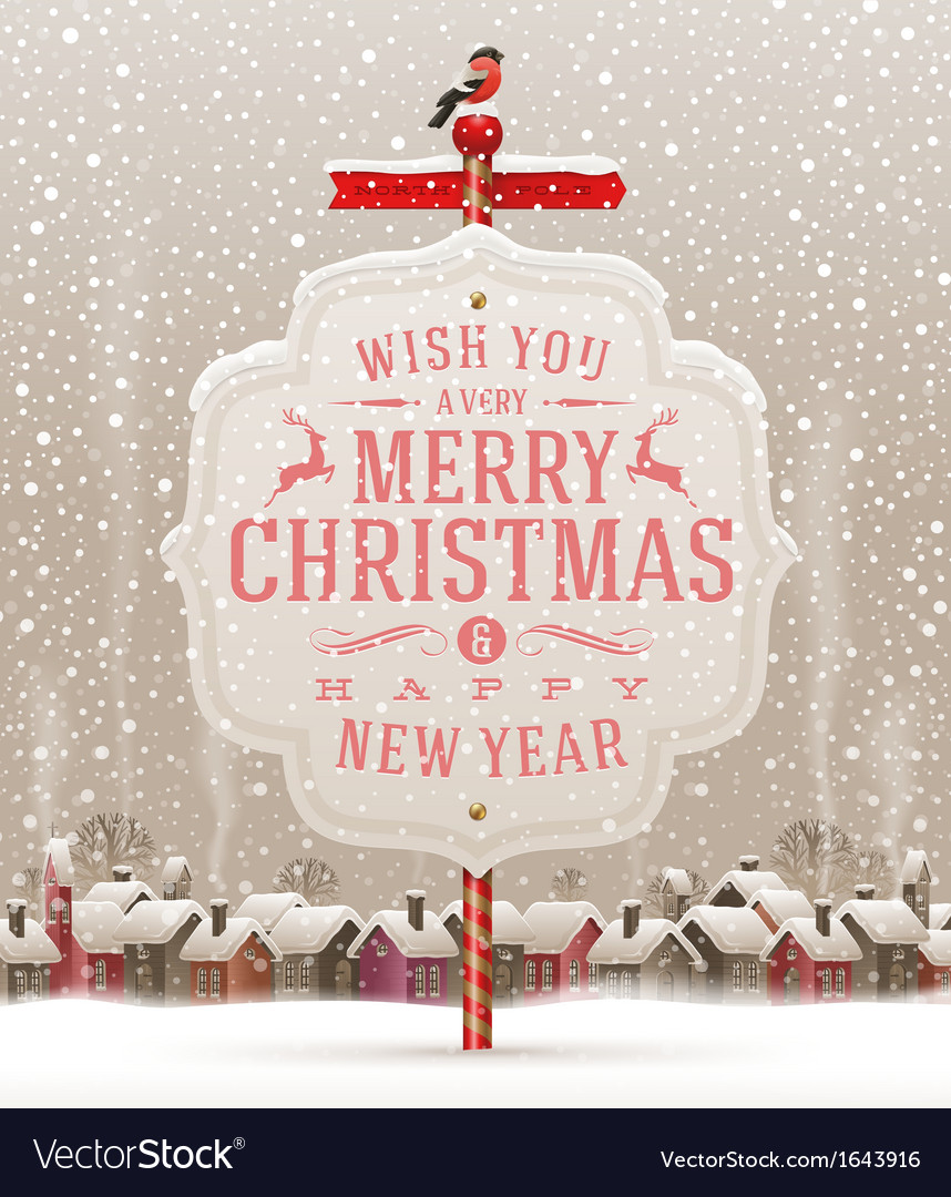 Signboard with Christmas greeting vector image