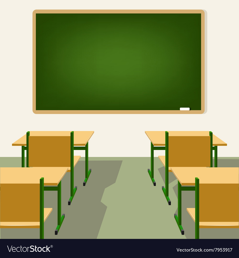Classroom Layout Clipart ~ Empty school classroom with blackboard and desks vector image
