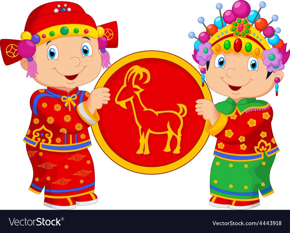 chinese lunar new year 2015 boy and girl bring goa vector image - Chinese Lunar New Year 2015