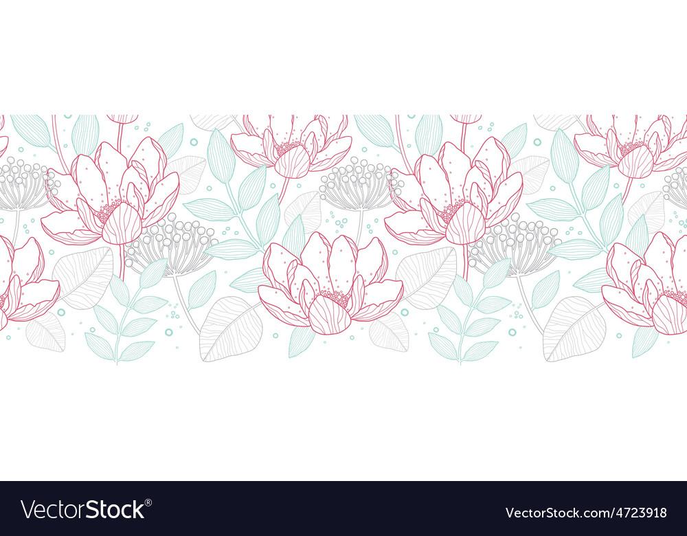 Horizontal Line Art : Modern line art florals horizontal border vector image