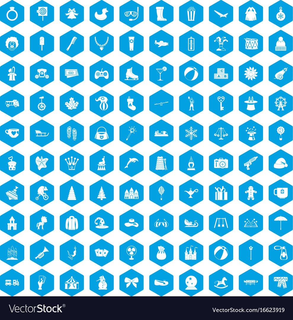 100 children icons set blue vector image