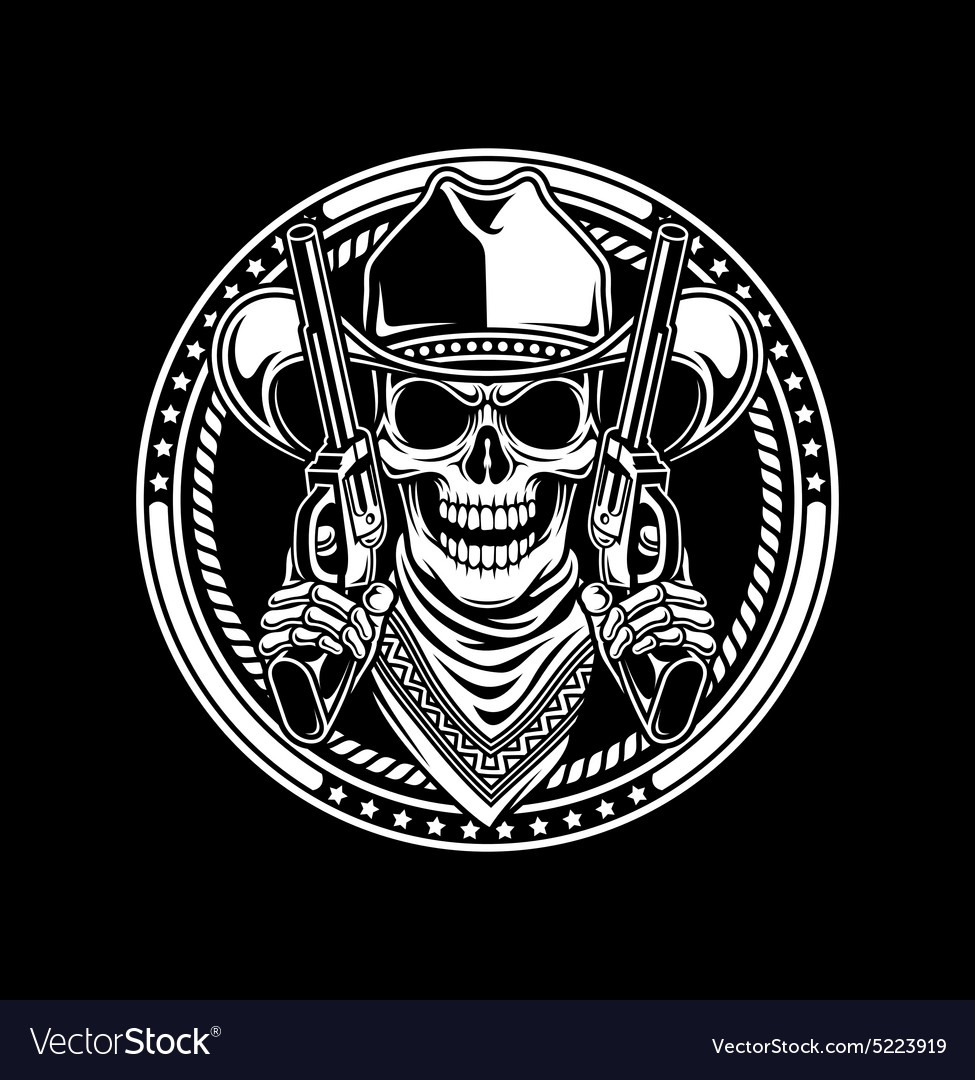 Cowboy Skull Hold Guns vector image