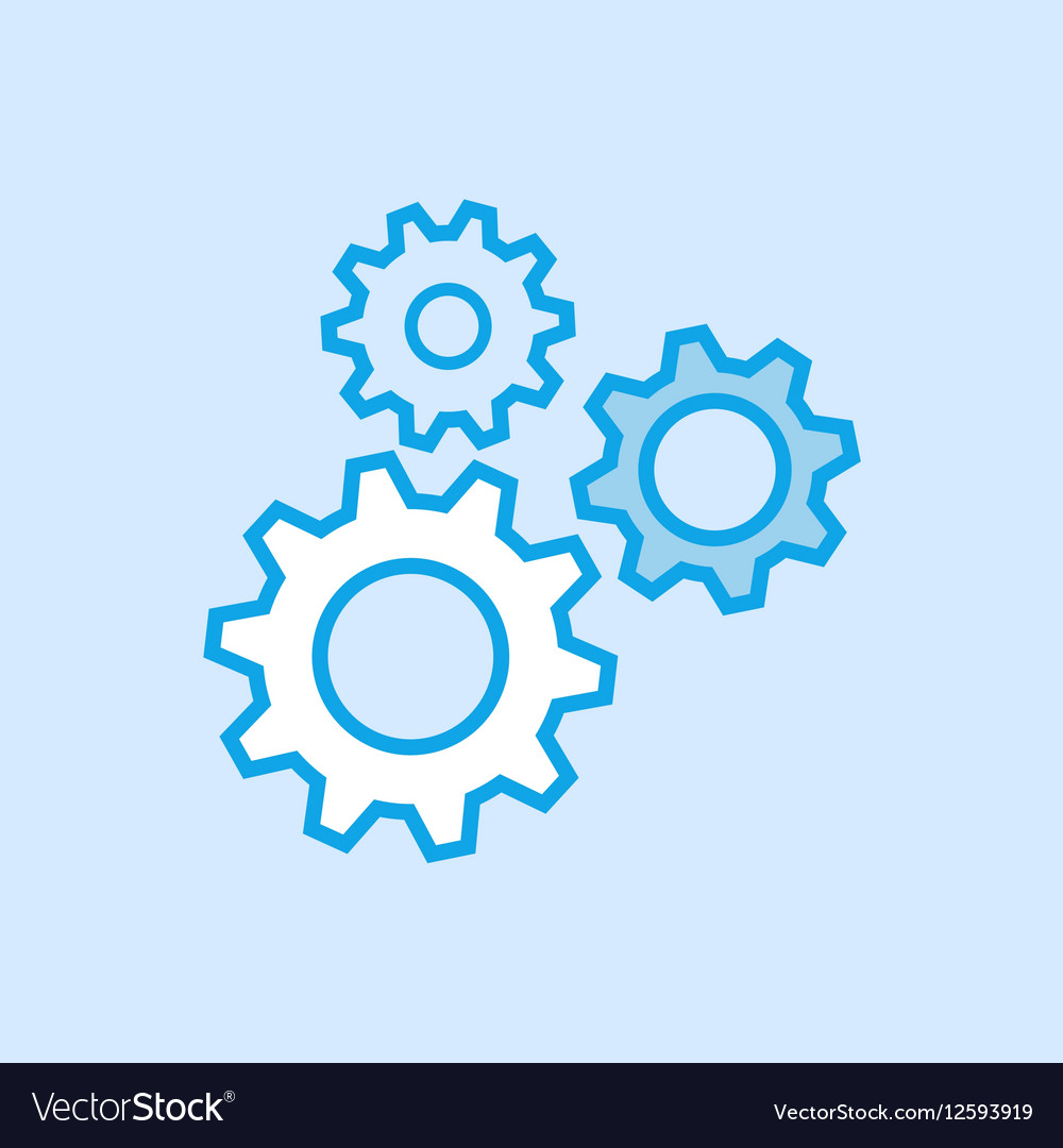 Gears Cog Icon Simple Blue vector image