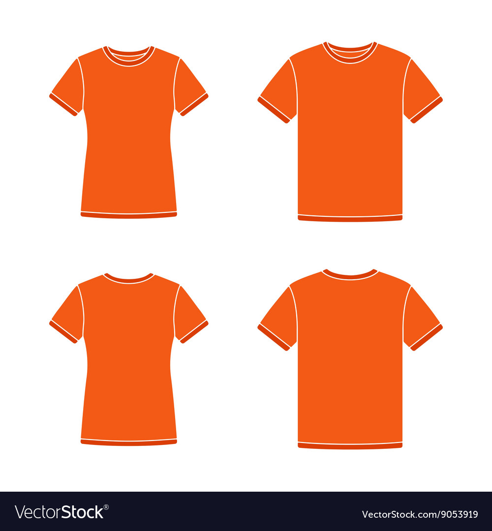 Orange short sleeve t-shirts templates vector image