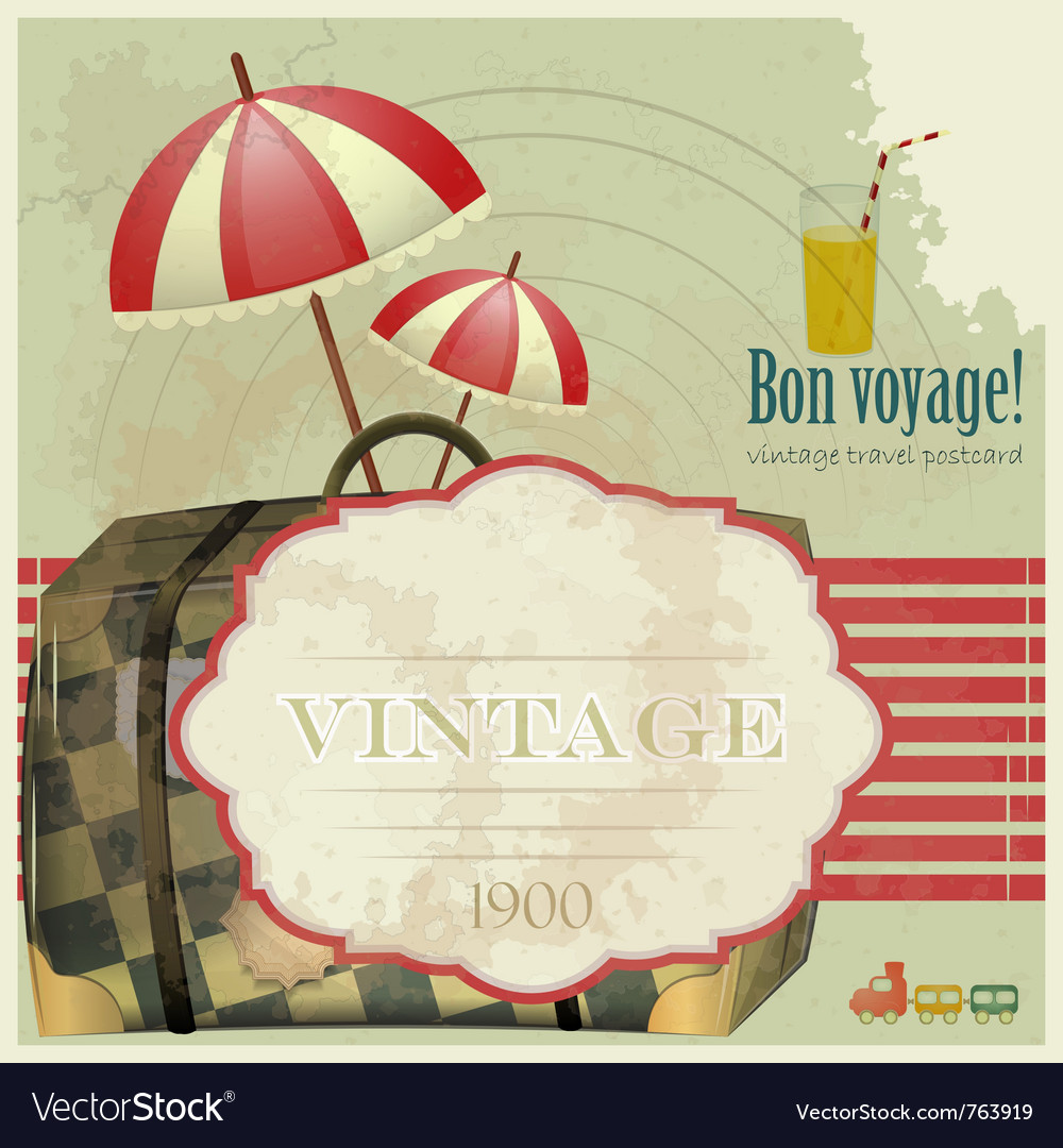 Vintage travel postcard vector image