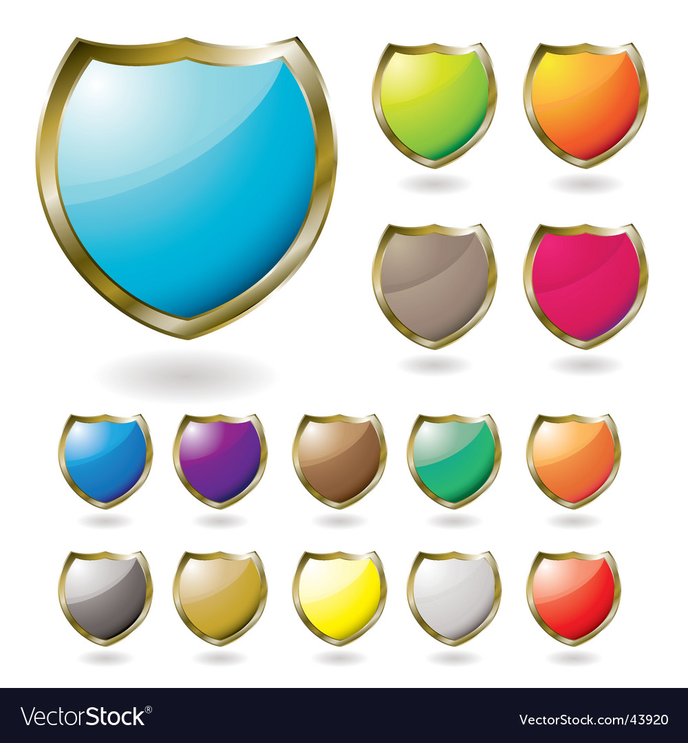 Shield drop shadow vector image