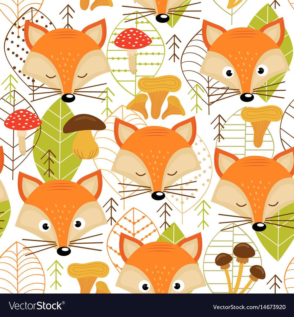 Seamless pattern with fox faces vector image