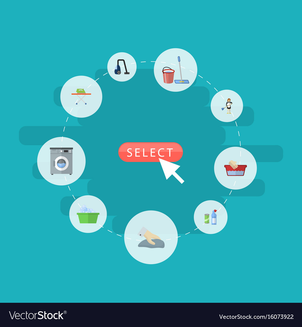 Flat icons means for cleaning laundromat mopping vector image