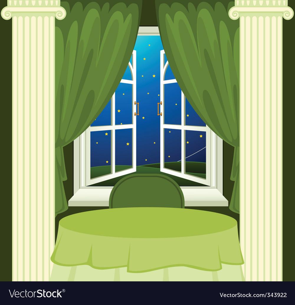 Open window at night - Open Window At Night Vector Image
