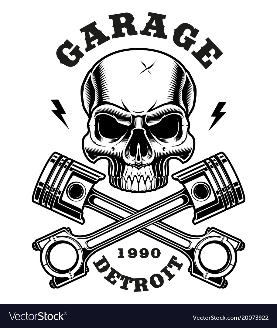 Skull with crossed pistons Royalty Free Vector Image
