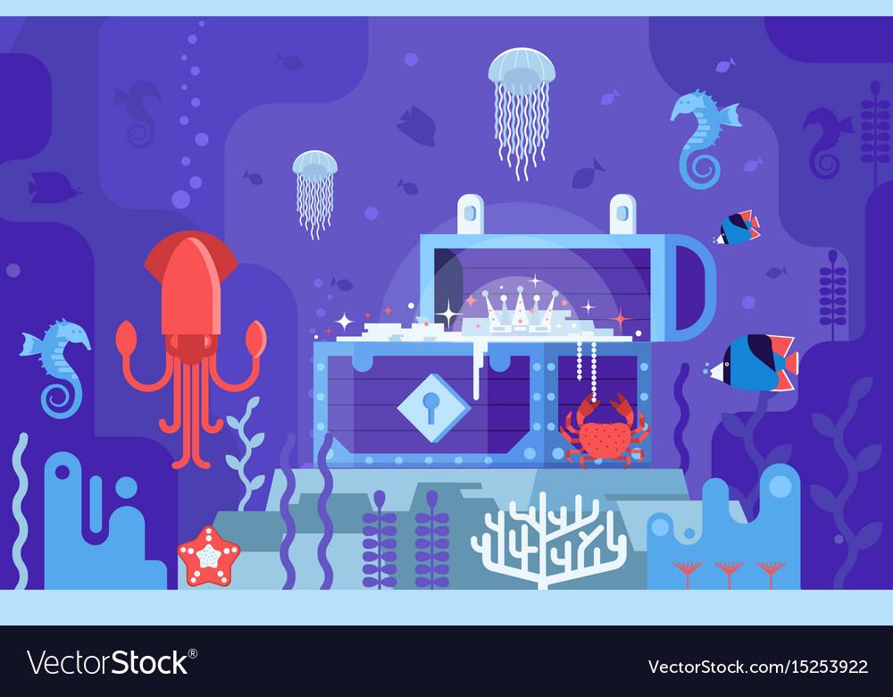 Underwater treasure box on seabed vector image