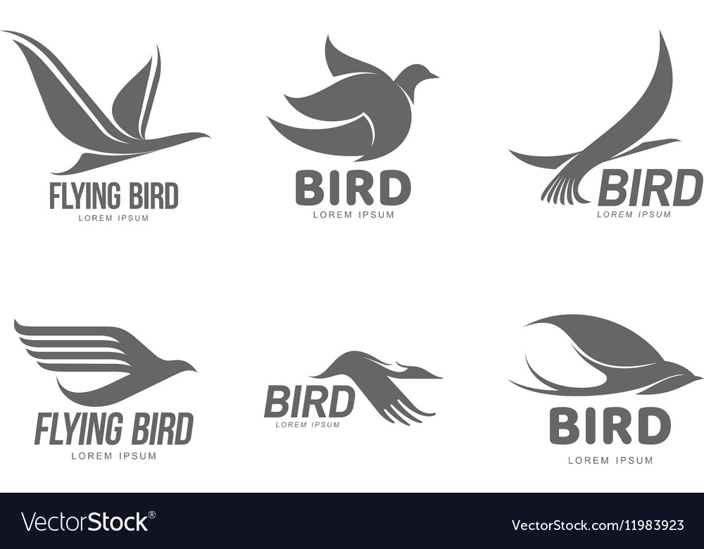 Set of black and white stylized logo templates vector image