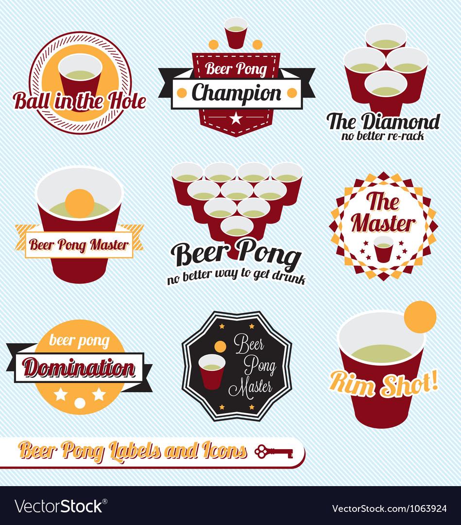 Beer Pong Labels vector image