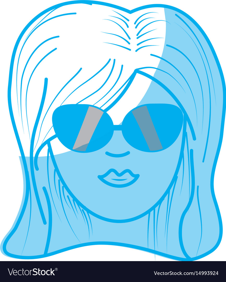 Silhouette cute woman face with hairstyle and vector image