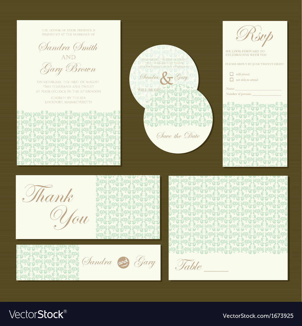 Wedding invitations set green vector image