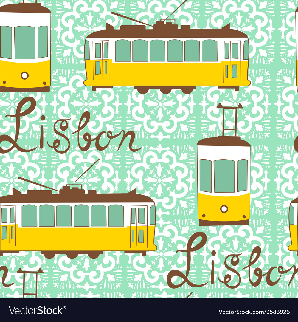 Colorful seamless pattern with tipical Lisbon tram vector image