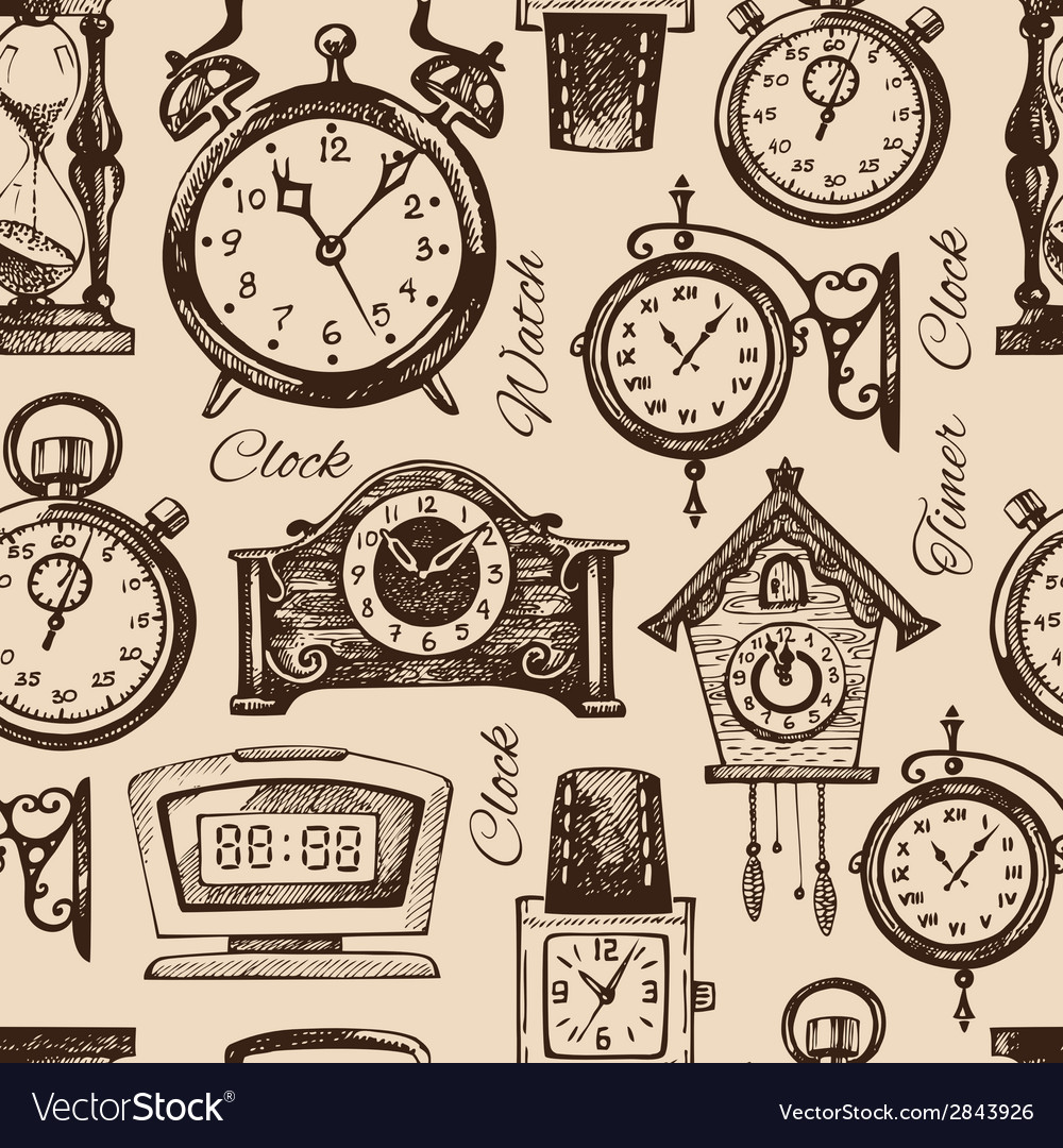 Hand drawn clocks and watches vector image