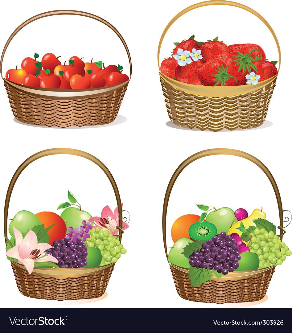 Set fruit baskets vector image