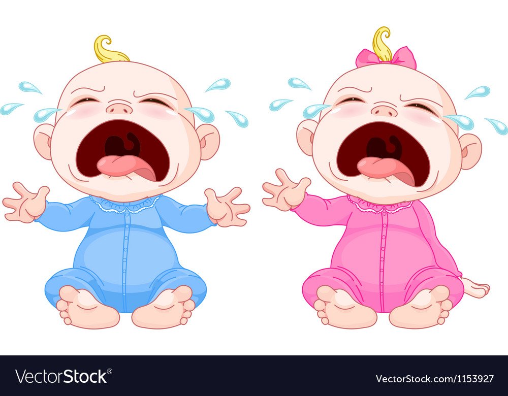 Crying baby twins vector image