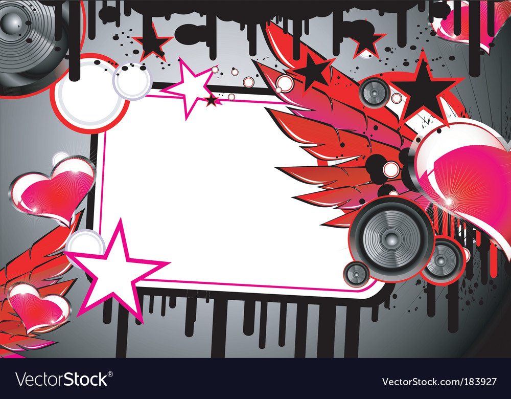 Love and music background vector image