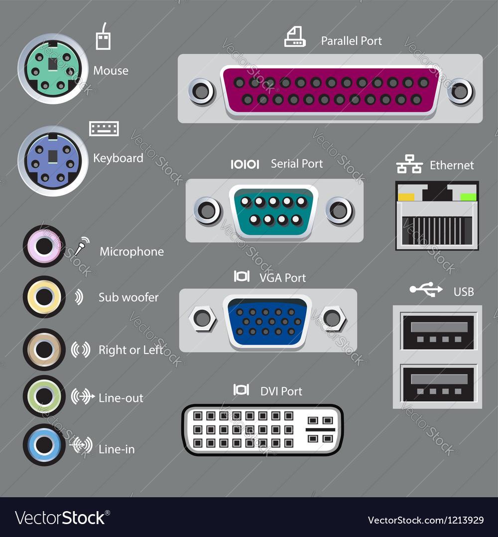 Computer port type vector image