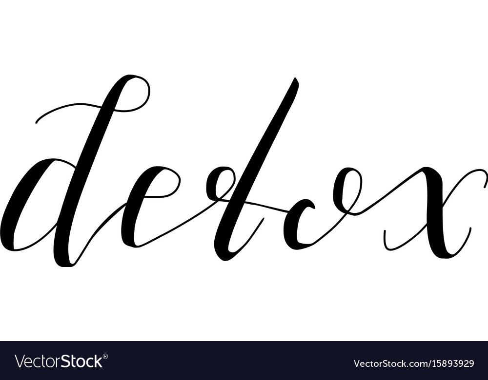 Detox- isolated hand drawn lettering vector image
