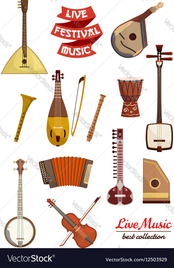 Musical instrument cartoon icon set vector image