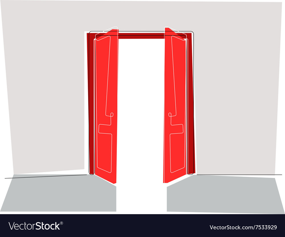 Red doors flat line vector image