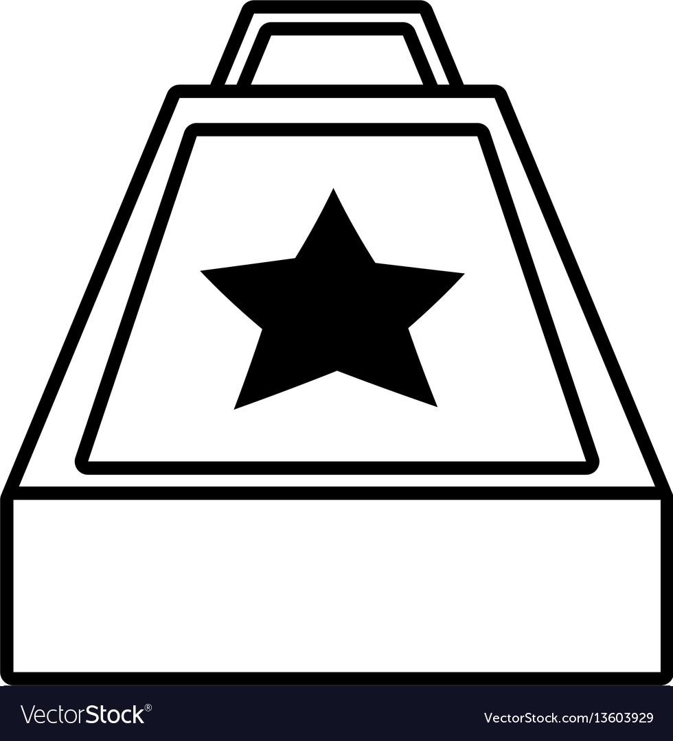 Surprise box stars april fools line vector image