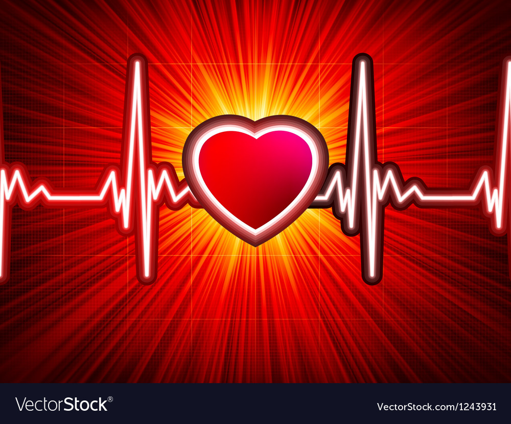 Heart beating monitor vector image