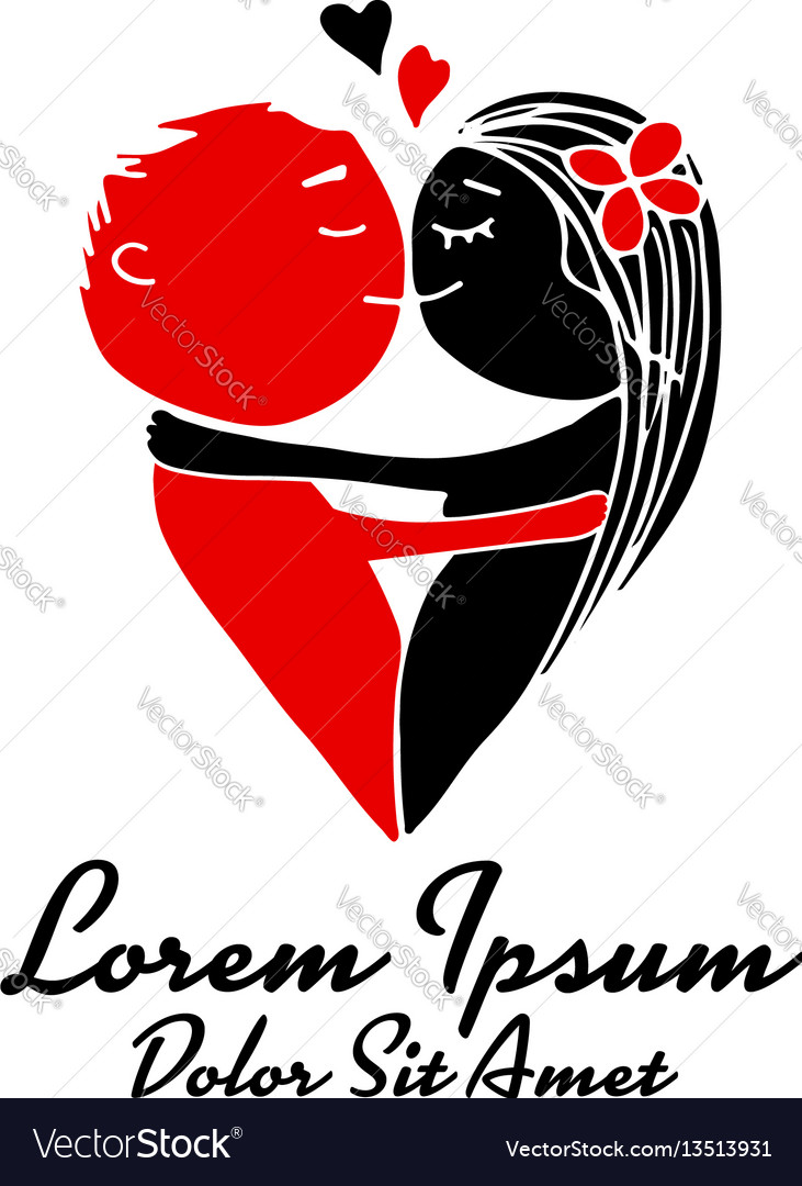 Couple kissing heart shape sketch for your design vector image