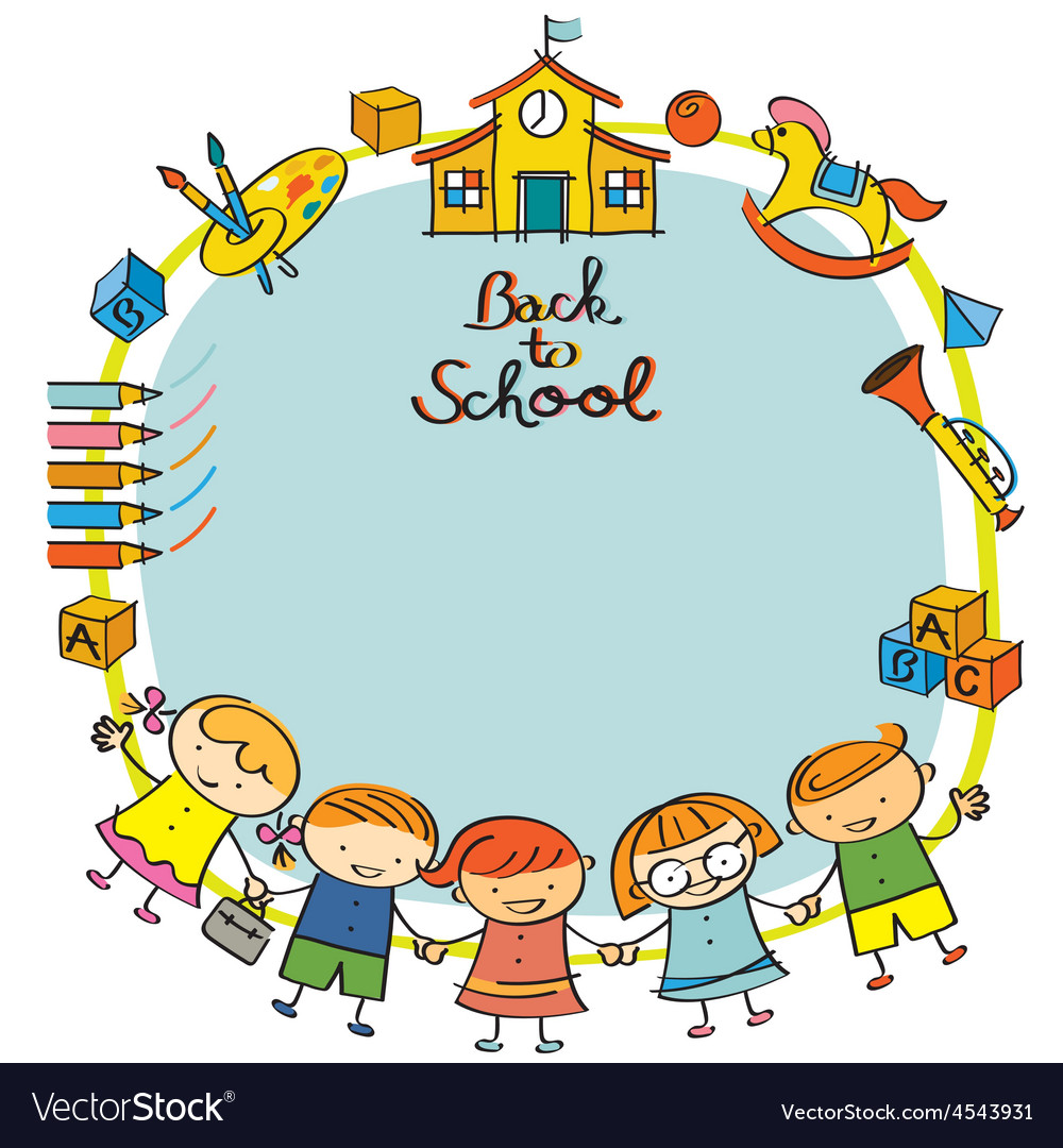Kindergarten Kids Back To School Frame Vector 4543931 on Kindergarten Worksheet For Re